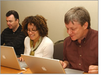 NHGRI staffers Ray MacDougall (left), Carla Easter and Jeff Whitherly answer questions at the DNA Day Online Chatroom