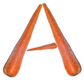 Raw carrots in the shape of the letter A