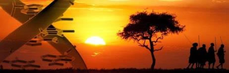 Africa sunset with DNA double helix
