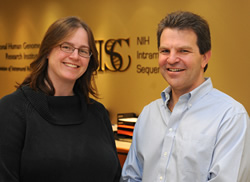 Dr. Hansen (left) and Dr. Mullikin at the NIH Intramural Sequencing Center