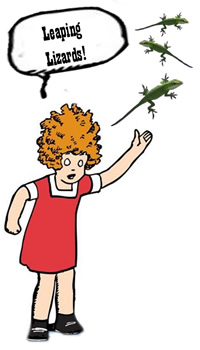 Cartoon character Little Orphan Annie with leaping lizards
