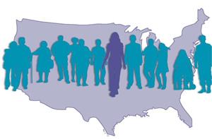 Silhouettes of people on the map of U.S.A.