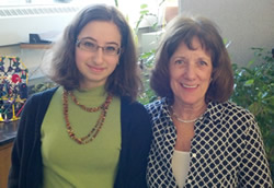 achel Gleyzer, left, won this year's ASHG DNA Day Essay Contest. She's pictured here with her teacher, Carol Zepatos.