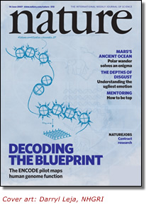 Cover of Nature Magazine. Cover art: Darryl Leja, NHGRI