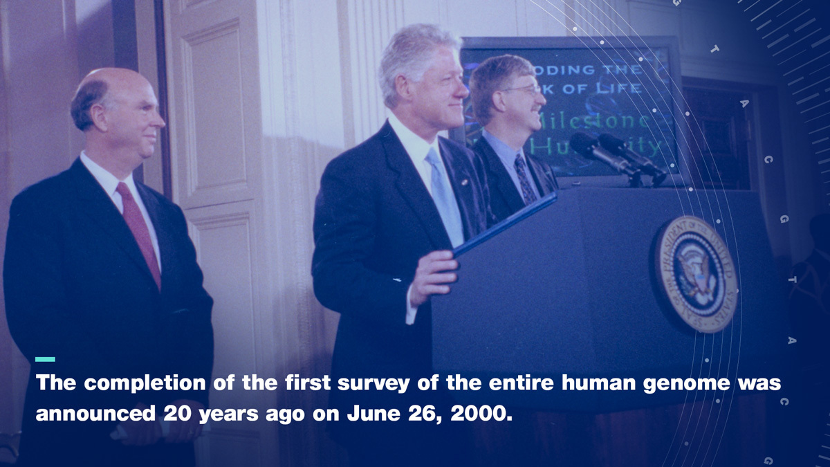 White House Announcement with Craig Venter, Bill Clinton and Francis Collins