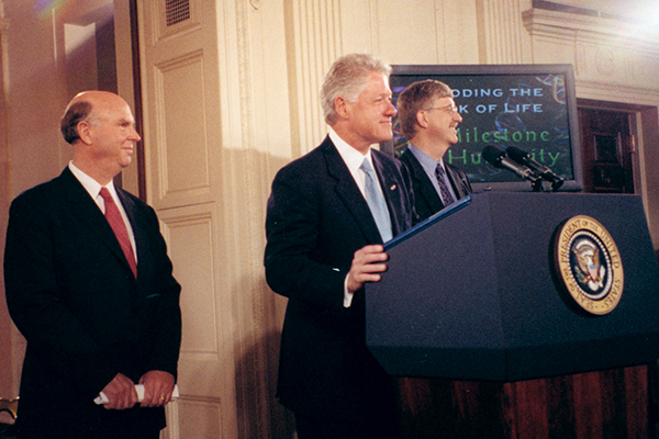 Craig Venter, Bill Clinton, Francis Collins