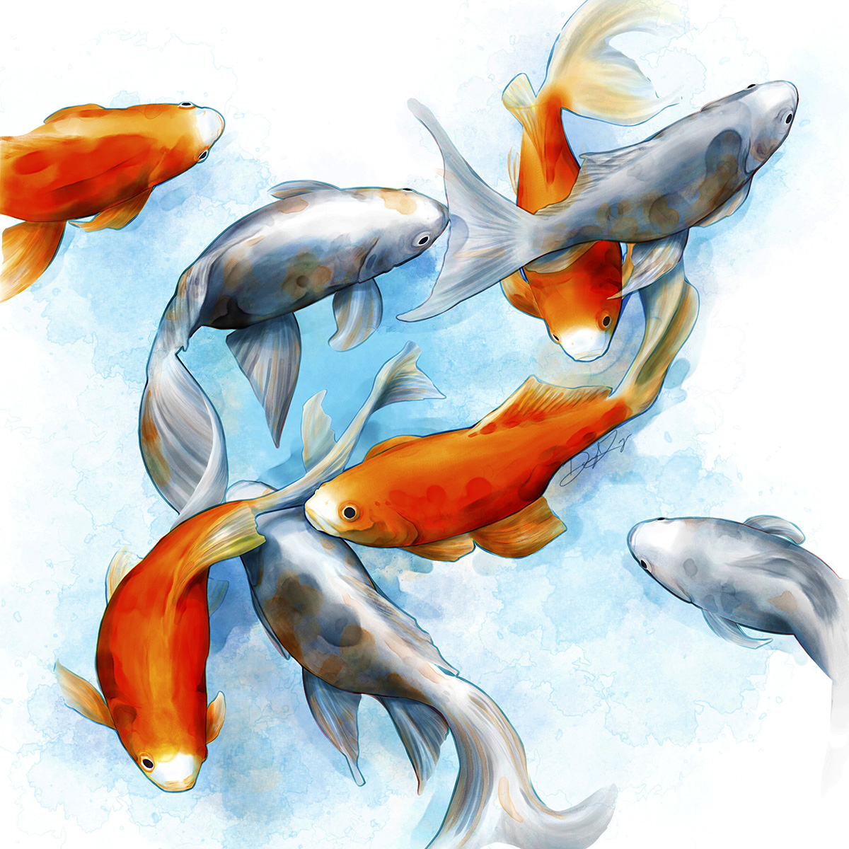 Goldfish in the formation of a double-helix