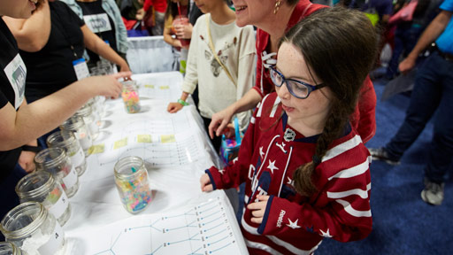 Child learns at a science fair