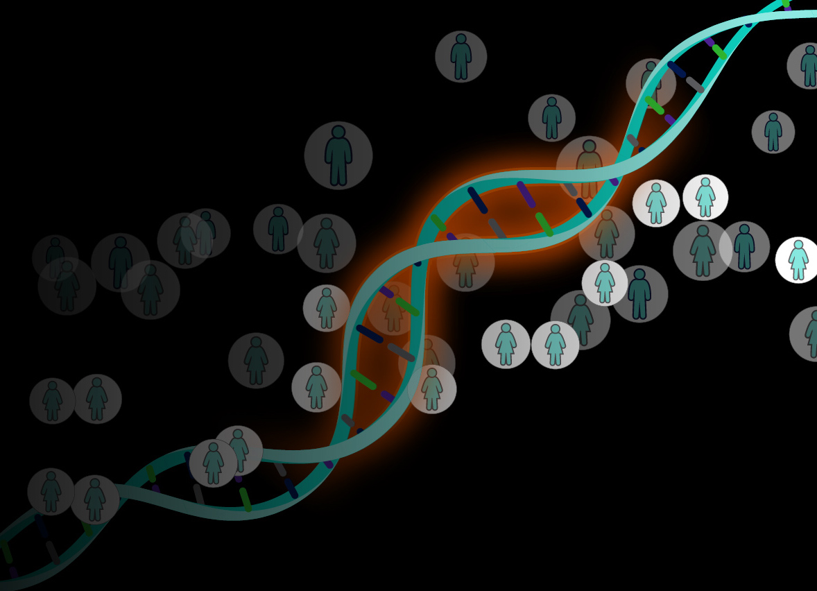 DNA double helix with people (icons)