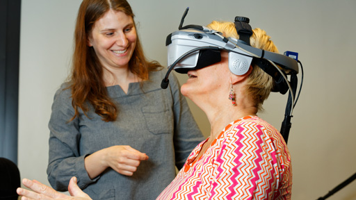 Patient wear VR headset during research session