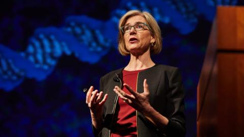 Jennifer Doudna speaking at Division of Intramural Research Genome Seminar Series