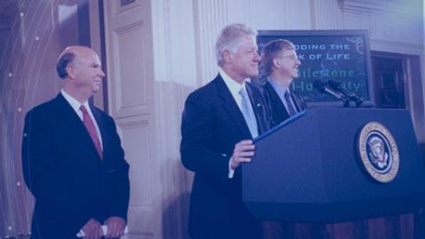 Craig Venter, Bill Clinton and Francis Collins at the White House